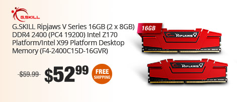 G.SKILL Ripjaws V Series 16GB (2 x 8GB) DDR4 2400 (PC4 19200) Intel Z170 Platform/Intel X99 Platform Desktop Memory (F4-2400C15D-16GVR)