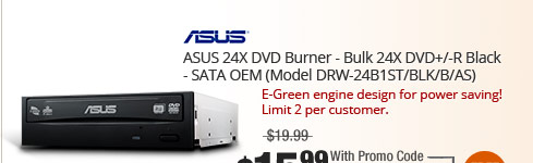 ASUS 24X DVD Burner - Bulk 24X DVD+/-R Black - SATA OEM (Model DRW-24B1ST/BLK/B/AS)