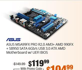 ASUS M5A99FX PRO R2.0 AM3+ AMD 990FX + SB950 SATA 6Gb/s USB 3.0 ATX AMD Motherboard w/ UEFI BIOS
