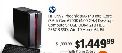 HP ENVY Phoenix 860-140 Intel Core i7 6th Gen 6700K (4.00 GHz) Desktop Computer, 16GB DDR4 2TB HDD 256GB SSD, Win 10 Home 64-Bit