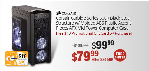 Corsair Carbide Series 500R Black Steel Structure w/ Molded ABS Plastic Accent Pieces ATX Mid Tower Computer Case