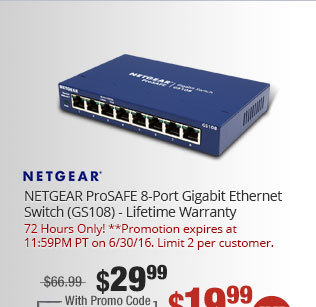 NETGEAR ProSAFE 8-Port Gigabit Ethernet Switch (GS108) - Lifetime Warranty