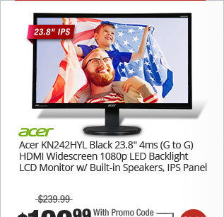 """Acer KN242HYL Black 23.8"""" 4ms (G to G) HDMI Widescreen 1080p LED Backlight LCD Monitor w/ Built-in Speakers, IPS Panel"""
