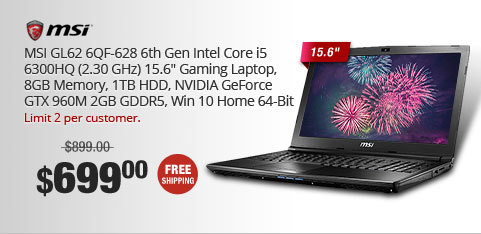"MSI GL62 6QF-628 6th Gen Intel Core i5 6300HQ (2.30 GHz) 15.6"" Gaming Laptop, 8GB Memory, 1TB HDD, NVIDIA GeForce GTX 960M 2GB GDDR5, Win 10 Home 64-Bit"