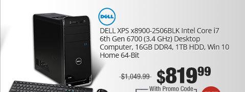 DELL Desktop Computer XPS x8900-2506BLK Intel Core i7 6th Gen 6700 (3.4 GHz) 16 GB DDR4 1 TB HDD Windows 10 Home 64-Bit