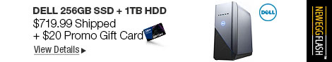 Newegg Flash - Dell 256GB SSD + 1TB HDD