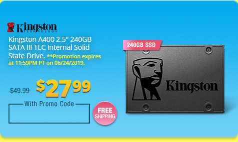 "Kingston A400 2.5"" 240GB SATA III TLC Internal Solid State Drive"