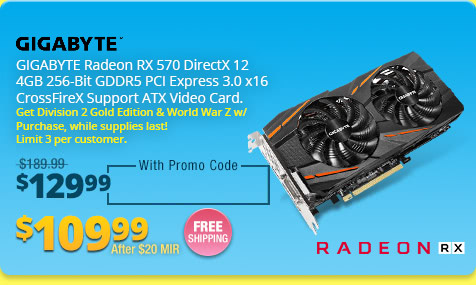 GIGABYTE Radeon RX 570 DirectX 12 4GB 256-Bit GDDR5 PCI Express 3.0 x16 CrossFireX Support ATX Video Card