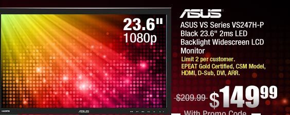 ASUS VS Series VS247H-P Black 23.6 inch 2ms LED Backlight Widescreen LCD Monitor