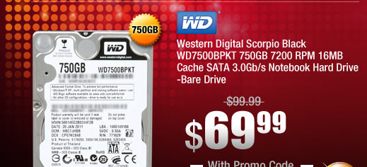 Western Digital Scorpio Black WD7500BPKT 750GB 7200 RPM 16MB Cache SATA 3.0Gb/s Notebook Hard Drive -Bare Drive