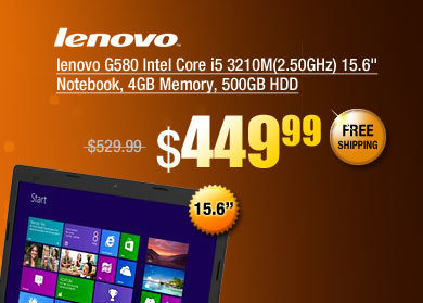 lenovo G580 Intel Core i5 3210M(2.50GHz) 15.6 inch Notebook, 4GB Memory, 500GB HDD