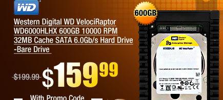 Western Digital WD VelociRaptor WD6000HLHX 600GB 10000 RPM 32MB Cache SATA 6.0Gb/s Hard Drive -Bare Drive