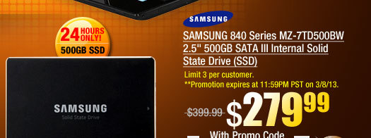SAMSUNG 840 Series MZ-7TD500BW 2.5 inch 500GB SATA III Internal Solid State Drive (SSD)
