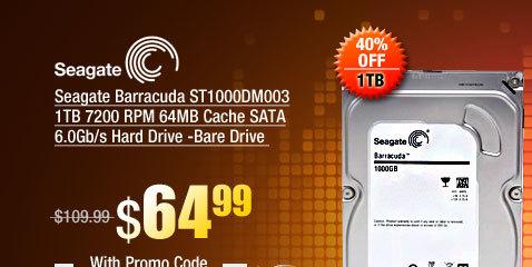 Seagate Barracuda ST1000DM003 1TB 7200 RPM 64MB Cache SATA 6.0Gb/s Hard Drive -Bare Drive