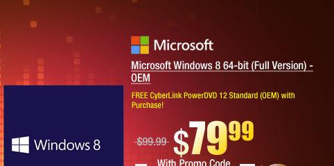Microsoft Windows 8 64-bit (Full Version) - OEM