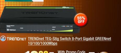 TRENDnet TEG-S8g Switch 8-Port Gigabit GREENnet 10/100/1000Mbps