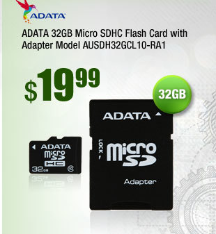 ADATA 32GB Micro SDHC Flash Card with Adapter Model AUSDH32GCL10-RA1