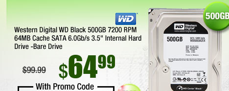 "Western Digital WD Black 500GB 7200 RPM 64MB Cache SATA 6.0Gb/s 3.5"" Internal Hard Drive -Bare Drive"