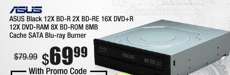 ASUS Black 12X BD-R 2X BD-RE 16X DVD+R 12X DVD-RAM 8X BD-ROM 8MB Cache SATA Blu-ray Burner