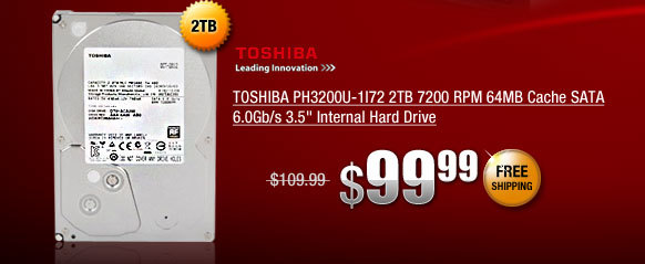TOSHIBA PH3200U-1I72 2TB 7200 RPM 64MB Cache SATA 6.0Gb/s 3.5 inch Internal Hard Drive