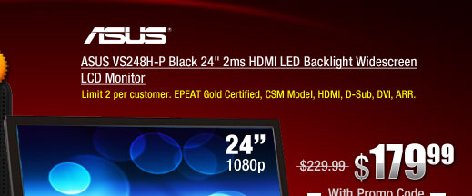 ASUS VS248H-P Black 24 inch 2ms HDMI LED Backlight Widescreen LCD Monitor