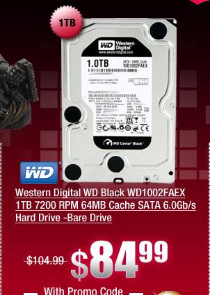 Western Digital WD Black WD1002FAEX 1TB 7200 RPM 64MB Cache SATA 6.0Gb/s Hard Drive -Bare Drive