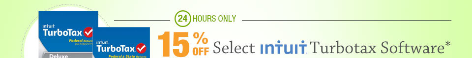 24 HOURS ONLY! 15% OFF SELECT INTUIT TURBOTAX SOFTWARE*