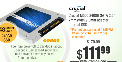 "Crucial M500 240GB SATA 2.5"" 7mm (with 9.5mm adapter) Internal SSD"