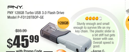 PNY 128GB Turbo USB 3.0 Flash Drive Model P-FD128TBOP-GE