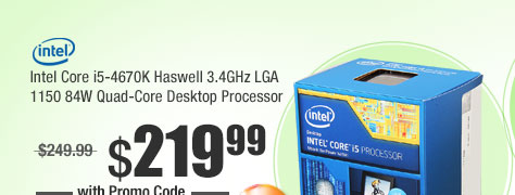 Intel Core i5-4670K Haswell 3.4GHz LGA 1150 84W Quad-Core Desktop Processor