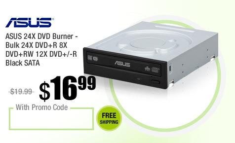 ASUS 24X DVD Burner - Bulk 24X DVD+R 8X DVD+RW 12X DVD+/-R Black SATA