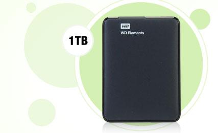 Western Digital Elements 1TB USB 3.0 Black External Hard Drive