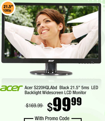 "Acer S220HQLAbd Black 21.5"" 5ms LED Backlight Widescreen LCD Monitor"