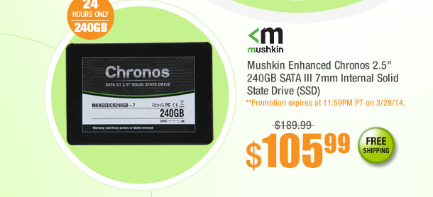 "Mushkin Enhanced Chronos 2.5"" 240GB SATA III 7mm Internal Solid State Drive (SSD)"