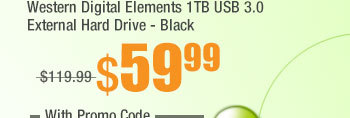 Western Digital Elements 1TB USB 3.0 External Hard Drive - Black