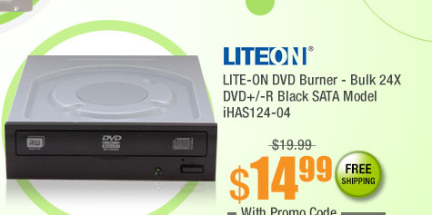 LITE-ON DVD Burner - Bulk 24X DVD+/-R Black SATA Model iHAS124-04