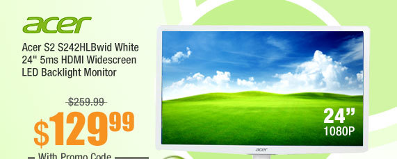 "Acer S2 S242HLBwid White 24"" 5ms HDMI Widescreen LED Backlight Monitor"