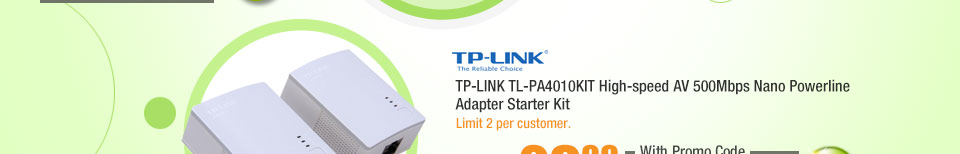 TP-LINK TL-PA4010KIT High-speed AV 500Mbps Nano Powerline Adapter Starter Kit