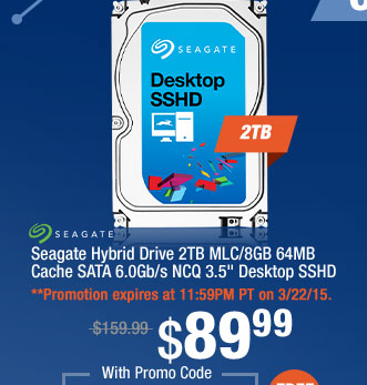 "Seagate Hybrid Drive 2TB MLC/8GB 64MB Cache SATA 6.0Gb/s NCQ 3.5"" Desktop SSHD"