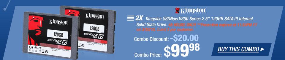 """2X- Kingston SSDNow V300 Series 2.5"""" 120GB SATA III Internal Solid State Drive"""