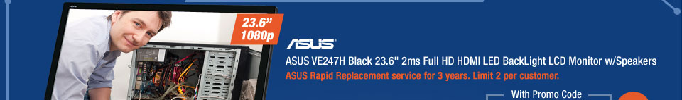 """ASUS VE247H Black 23.6"""" 2ms Full HD HDMI LED BackLight LCD Monitor w/Speakers"""