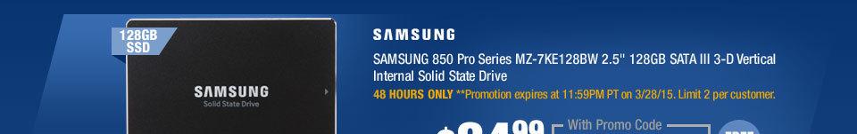 "SAMSUNG 850 Pro Series MZ-7KE128BW 2.5"" 128GB SATA III 3-D Vertical Internal Solid State Drive"