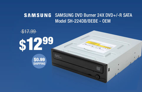 SAMSUNG DVD Burner 24X DVD+/-R SATA Model SH-224DB/BEBE - OEM
