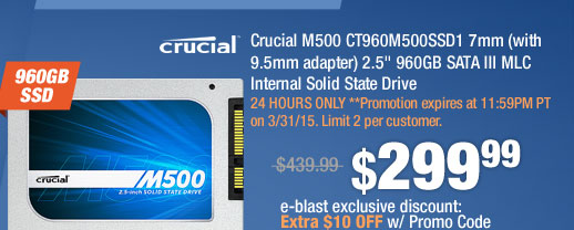 """Crucial M500 CT960M500SSD1 7mm (with 9.5mm adapter) 2.5"""" 960GB SATA III MLC Internal Solid State Drive"""