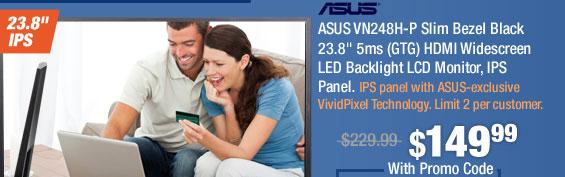 "ASUS VN248H-P Slim Bezel Black 23.8"" 5ms (GTG) HDMI Widescreen LED Backlight LCD Monitor, IPS Panel"