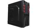 DIYPC Solo-T1-R Black USB 3.0 ATX Mid Tower Gaming Computer Case with 2 x Red Fans