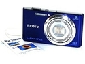 """Refurbished: Sony Cyber-shot DSC-W730 16.1 Megapixel Compact Camera - 2.7"""" Touchscreen LCD - 8x Optical Zoom - Optical (IS) - 4608 x 3456 Image - 1280 x 720 Video - HD Movie Mode - Blue"""