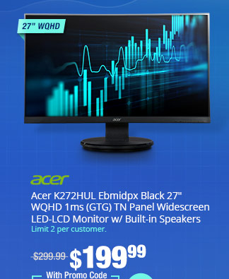 "Acer K272HUL Ebmidpx Black 27"" WQHD 1ms (GTG) TN Panel Widescreen LED-LCD Monitor w/ Built-in Speakers"