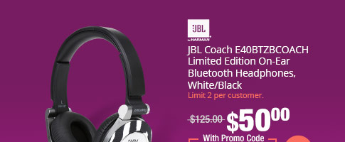 JBL Coach E40BTZBCOACH Limited Edition On-Ear Bluetooth Headphones, White/Black