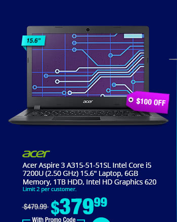 "Acer Aspire 3 A315-51-51SL Intel Core i5 7200U (2.50 GHz) 15.6"" Laptop, 6GB Memory, 1TB HDD, Intel HD Graphics 620"